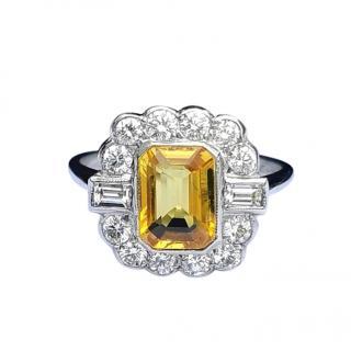 Bespoke Art Deco Diamond & Yellow Sapphire Ring