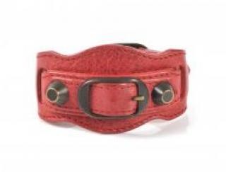 Balenciaga Red Leather Arena Bracelet