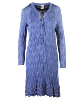 M Missoni Blue Knit Lace-Up Dress