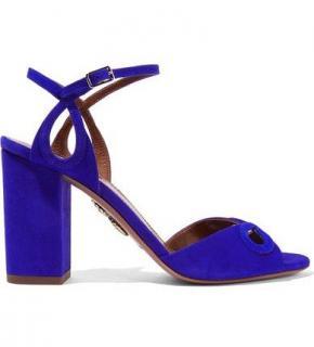 Aquazzura Vera Eyelet Block Heel Suede Sandals In Blue