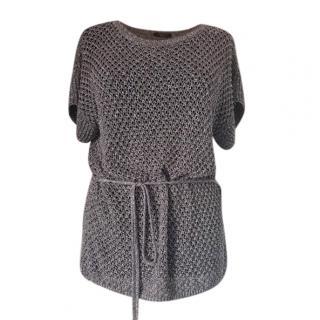 Max Mara Crochet Lurex Knit Belted Top