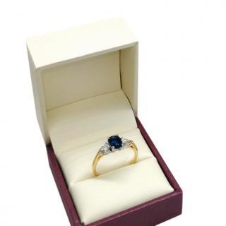 David Simmons 18ct Yellow Gold Diamond & Sapphire Trilogy Ring
