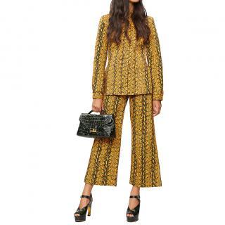 Alexa Chung Snakeskin-print fitted jacket