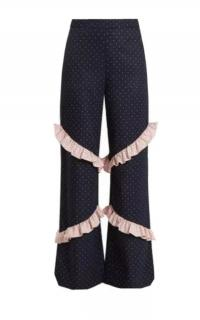 Huishan Zhang Navy Ruffle Trim Wide Leg Pants