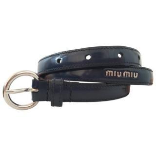 Miu Miu Blue Leather Skinny Belt