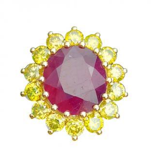 Bespoke 10.43ct Burma ruby and yellow diamond cluster ring