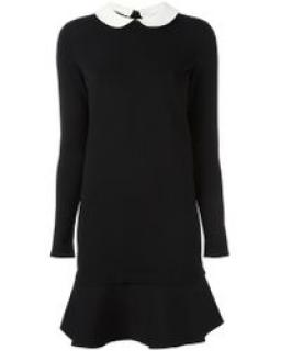 VALENTINO BLACK KNIT DRESS WITE PETER PAN COLLAR SZ M
