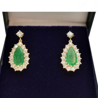 Bespoke drop emerald and diamond cluster earrings
