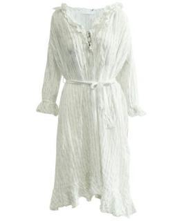 Zimmermann Striped Ruffled Cotton Midi Dress