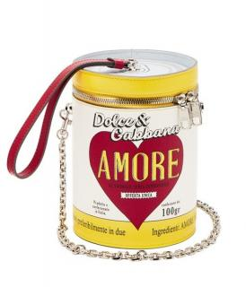 Dolce & Gabbana Amore Soup Can Leather Clutch on Chain