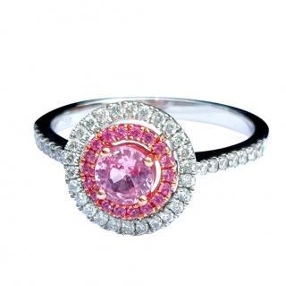 Bespoke Diamond & Sapphire 18ct White Gold Halo Ring