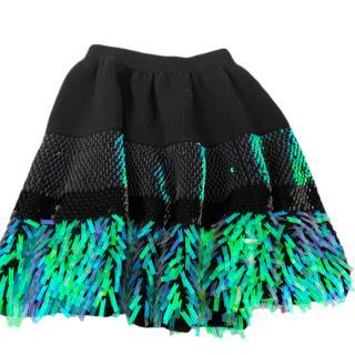 McQ by Alexander McQueen black & green iridescent sequin knit skirt