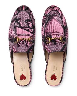 Gucci Pink & Black Toile Princetown Slippers