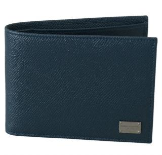 Dolce & Gabbana Teal Leather Bi-Fold Wallet