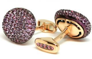 William & Son 18ct Yellow Gold Purple Sapphire Cufflinks