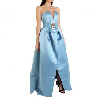 Elisabetta Franchi Blue Satin Wrap Gown
