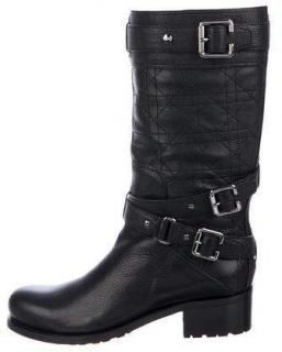Dior Black Cannage Leather Biker Boots