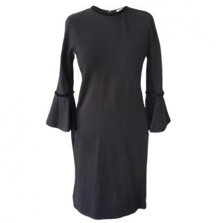 Issa Black Velvet Trimmed Flared Sleeve Dress