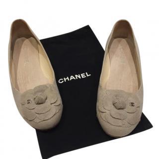 Chanel Grey Suede Camellia Ballerina Flats