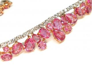 William & Son Diamond & Pink Sapphire Tiara Bracelet