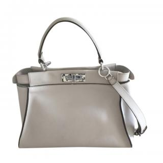Fendi Grey Leather Peekaboo Shoulder Bag