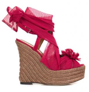 Fendi Suede & Tulle Espadrille Wedge Sandals