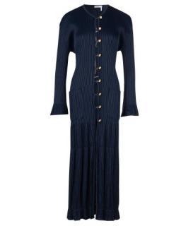 Chloe Navy Blue Crinkled Ribbed-knit Cardigan