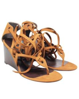 Balenciaga Suede Camel Strappy Wedge Sandals