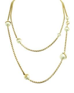 Dior Gold metal chain and faux pearl necklace 60 cms
