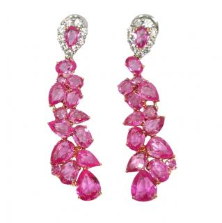 William & Son diamond and pink sapphire Beneath the Rose earrings