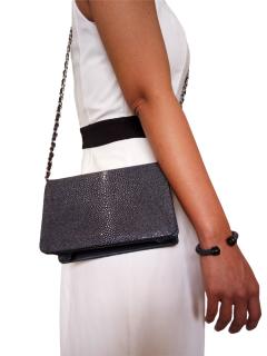 Hidetoshi navy blue stingray shoulder bag