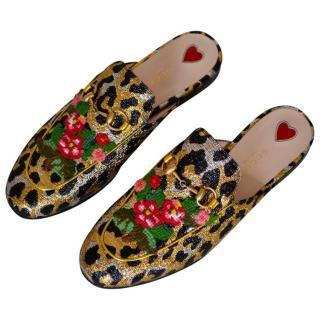 Gucci embellished leopard print slides