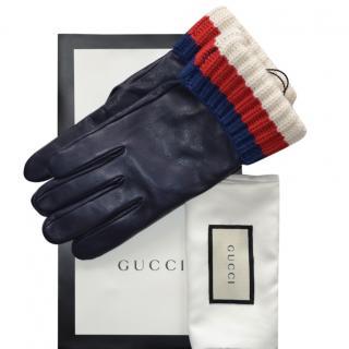 Gucci navy blue men's leather/cashmere trim gloves
