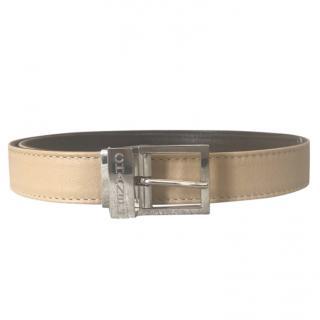 Chanel vintage reversible badge/brown silver buckle belt