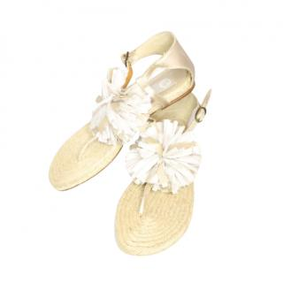 Lanvin pompom rafia sandals