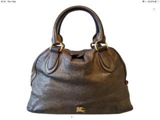 Burberry metallic gunmetal leather bowling bag