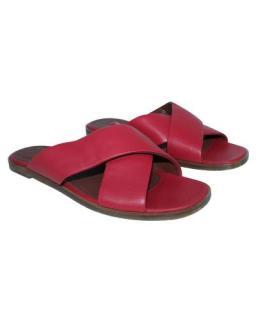 Loro Piana Dark Pink Leather Flat Sandals