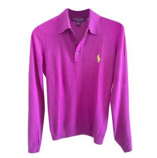 Ralph Lauren purple cashmere long sleeved top
