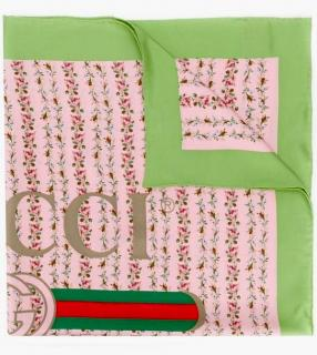 Gucci green and pink rose print silk scarf