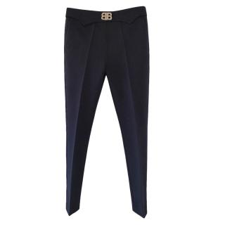 Balenciaga black cotton blend BB buckle trousers