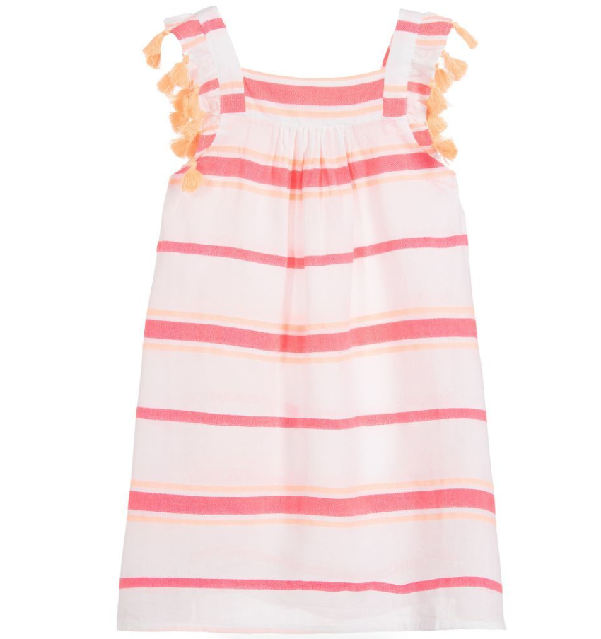 Sunuva Girls white & pink striped cotton sundress