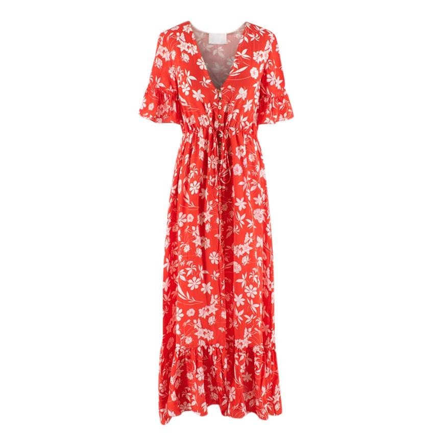 Athena Procopiou Red Farrah Floral Print Silk Dress