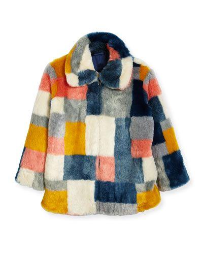 Stella McCartney Abbie Faux-Fur Colorblock Jacket