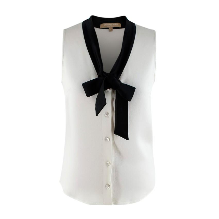 Michael Kors White Crepe Black Tie Sleeveless Blouse