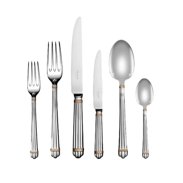Christofle Aria 110-Piece Silver-Plated Flatware Set w/ 24ct Gold Trim