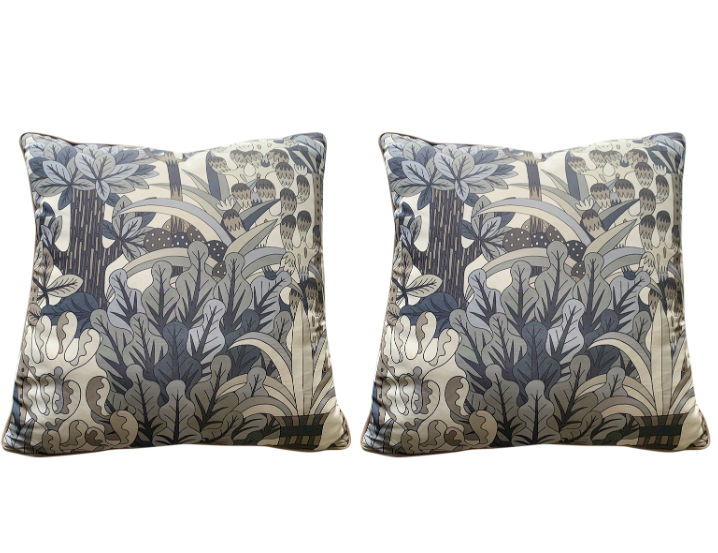 Hermes Jardin d'Osier Silk Blend Set of Two Cushions