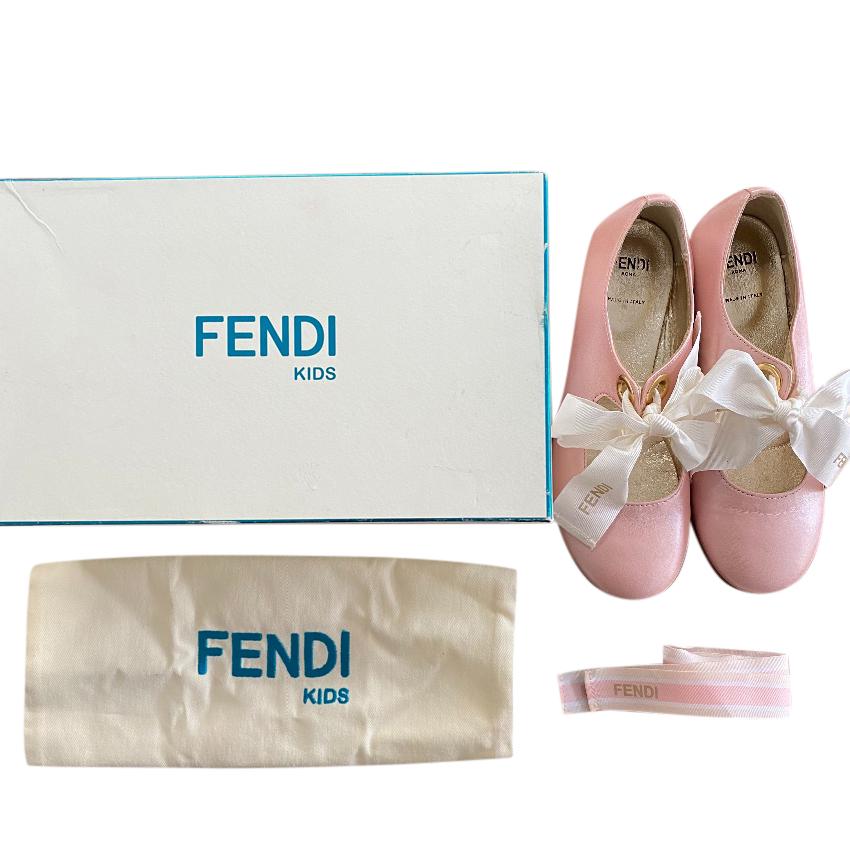 Fendi Kids Pale Pink Ribbon Tie Pumps