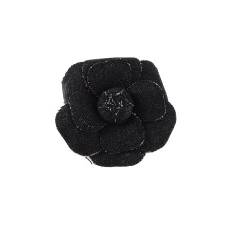 Chanel Black Denim Camellia Pin Brooch