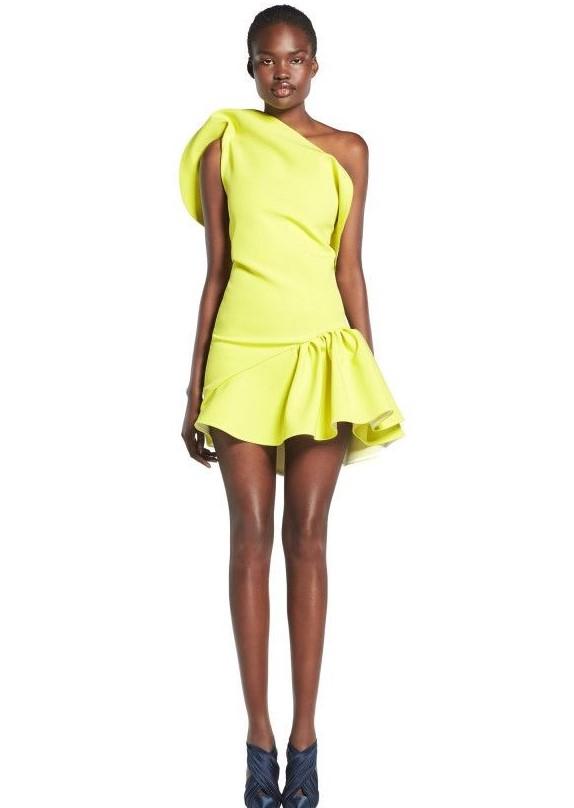 Maticevski Yellow Ruffled One Shoulder Mini Dress