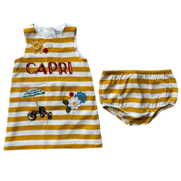 Dolce & Gabbana Yellow Striped Capri Dress with Bloomers